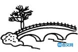小桥流水素描简笔图片